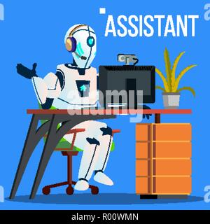 Answerphone, Robot With Headphones Answering The Phone Calls Vector. Isolated Illustration - Stock Photo