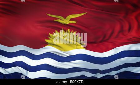 KIRIBATI Realistic Waving Flag Background - Stock Photo