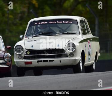 Stuart Caie, Ford Lotus Cortina, Classic Touring Car Racing Club, Pre-66, BARC, British Automobile Racing Club, National Championship, Brands Hatch, O - Stock Photo