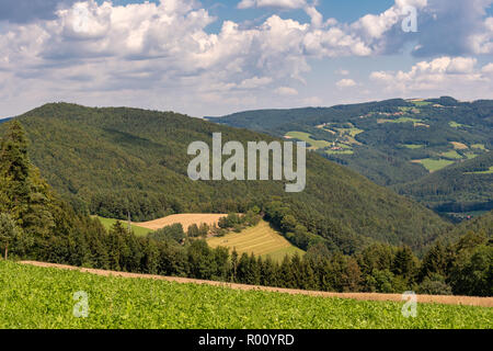 Color rural summer panoramic landscape image of an idyllic farmland countryside with few clouds in the sky and a downhill view over fields, forest - Stock Photo