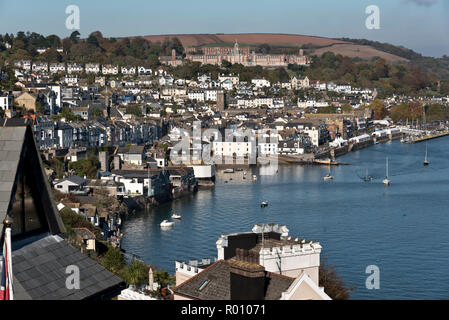 View over Dartmouth, Devon, including the Britannia Royal Naval College. - Stock Photo
