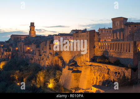 Small Tuscany Village On Cliff - Stock Photo