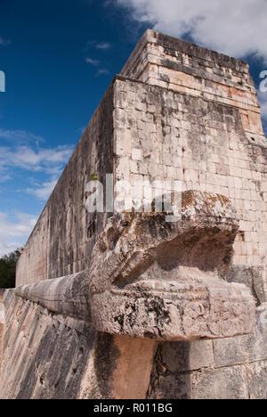 A Kukulkan sculpture (Feathered Serpent), the Maya snake deity, at the Great Ball Court (Gran Juego de Pelota), Chichen Itza, Mexico. - Stock Photo