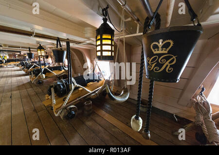 The HMS Victory, Lord Nelson's flagship at the Battle of Trafalgar, now a museum ship in Portsmouth, England. - Stock Photo