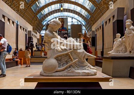 PARIS, FRANCE - JUNE 06, 2014: Muse statue inside the Museum D'Orsay in Paris - Stock Photo