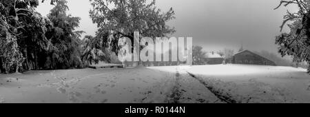 Black and white panoramic of O Cebreiro with Snow, Way of St. James, the Camino de Santiago - Stock Photo