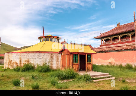 Amarbayasgalant Monastery one of three largest Buddhist monastic centers in Mongolia in Iven Valley, Selenge Province, northern Mongolia - Stock Photo