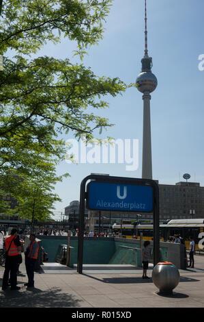 Berlin, Germany, subway station on Alexanderplatz in Berlin-Mitte - Stock Photo