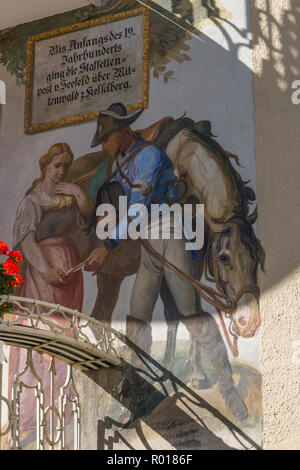 Wallpainting showing a historic scene with a uniiformed postman, Mittenwald, Upper Bavaria, Bavaria, Germany, Europe, - Stock Photo