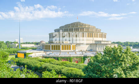 Centennial Hall complex with Pergola and its Multimedia Fountain in Wroclaw, Poland. - Stock Photo