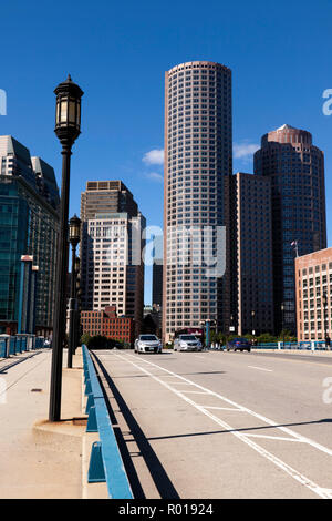 View of the Boston skyline from the South side of the Seaport boulevard bridge Massachusetts USA - Stock Photo