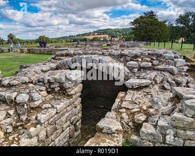 11 August 2018: Northumberland, UK - The excavated treasury at Chesters Roman Fort, Hadrian's Wall, Northumberland, UK - Stock Photo