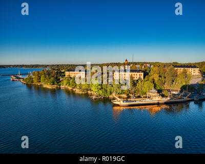 18 September 2018: Stockholm, Sweden - View of some of the islands of the Stockholm Archipelago from a cruise liner as it sails into port at sunrise,  - Stock Photo