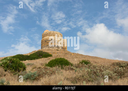 the 16th century Tower of Giovanni in the ruins of the ancient city of Tharros - Stock Photo