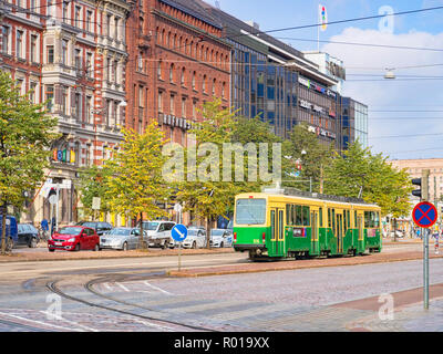20 September 2018: Helsinki, Finland - Tram in the central city. - Stock Photo