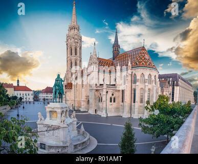 St. Matthias Church's in the Fisherman's Bastion, Budapest, Hungary. - Stock Photo