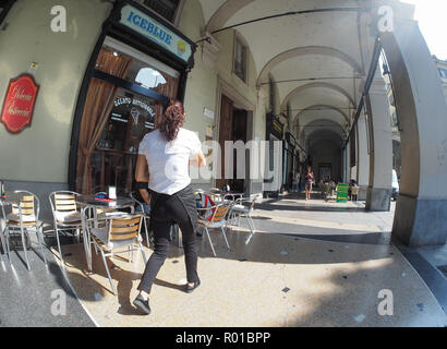 TURIN, ITALY - CIRCA SEPTEMBER 2018: colonnade portico seen with fisheye lens - Stock Photo