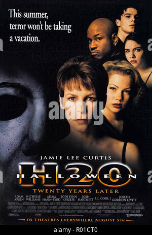 Halloween H20: 20 Years Later (1998) directed by Steve Miner and starring Jamie Lee Curtis, Josh Hartnett, Adam Arkin, Janet Leigh and LL Cool J. Michael Myers travels to California to continue his stalking of Laurie Strode. - Stock Photo