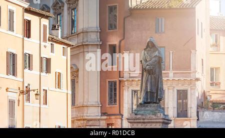 The bronze statue of the philosopher Giordano Bruno in Campo de Fiori in Rome, Italy - Stock Photo