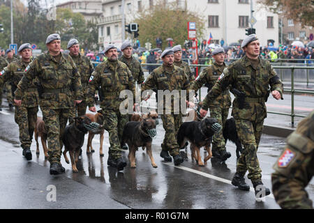 European street, Prague-October 28, 2018: Soldiers with service dogs are marching on military parade for 100th anniversary of creation Czechoslovakia  - Stock Photo