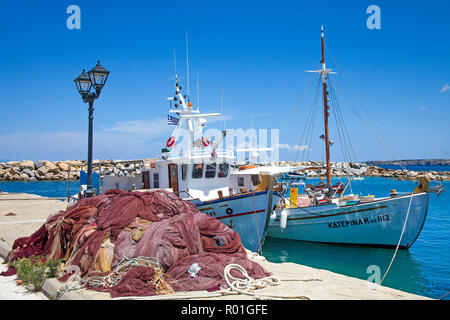 Fishing boats in the port of Naoussa, Paros, Cyclades, Aegean Sea, Greece - Stock Photo