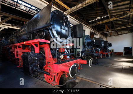 Steam locomotives in the locomotive shed, Bavarian Railway Museum, Nördlingen, Donau-Ries district, Swabia, Bavaria, Germany - Stock Photo