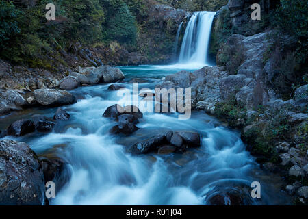 Tawhai Falls, Whakapapanui Stream, Tongariro National Park, Central Plateau, North Island, New Zealand - Stock Photo