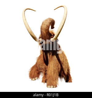woolly mammoth, running prehistoric mammal isolated on white background - Stock Photo