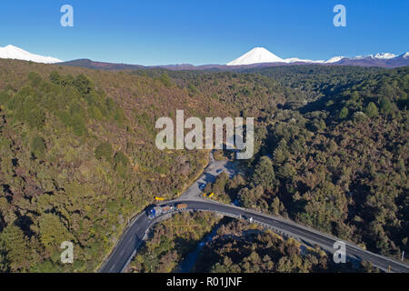 Mt Ngauruhoe and Desert Road, Tongariro National Park, Central Plateau, North Island, New Zealand - aerial - Stock Photo