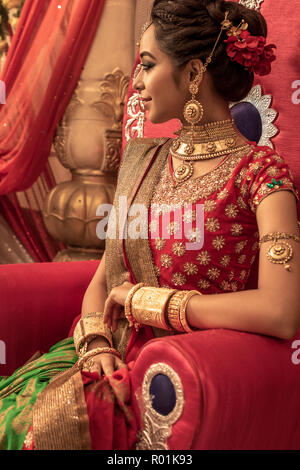 June 03,2018. Durgapur, India. An unidentified beautiful young Indian Model Poses with Indian  Bridal Make up. - Stock Photo