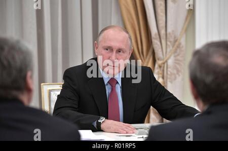 Moscow, Russia. 30th October, 2018. Russian President Vladimir Putin during a meeting with former regional governors at the Kremlin October 30, 2018 in Moscow, Russia. Credit: Planetpix/Alamy Live News - Stock Photo