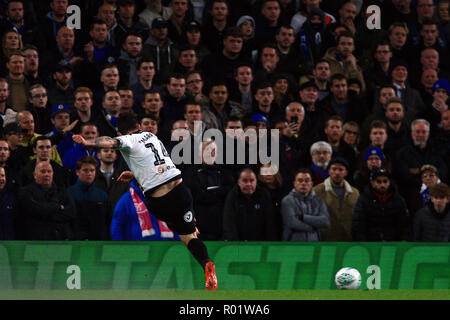 London, UK. 31st October, 2018. Jack Marriott of Derby County scores his team's first goal. EFL Carabao Cup, round 4 match, Chelsea v Derby County at Stamford Bridge in London on Wednesday 31st October 2018.  this image may only be used for Editorial purposes. Editorial use only, license required for commercial use. No use in betting, games or a single club/league/player publications. pic by Steffan Bowen/ Andrew Orchard sports photography/Alamy Live news - Stock Photo