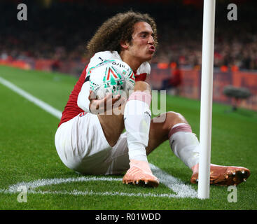London, UK, 31 October, 2018 Matteo Guendouzi of Arsenal during EFL Cup Fourth Round  between Arsenal and Blackpool at Emirates stadium , London, England on 31 Oct 2018.  Credit Action Foto Sport/Alamy Live News - Stock Photo