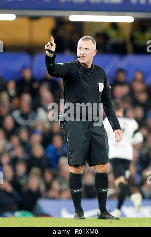 Referee, Jonathan Moss directs play during the EFL Carabao Cup Round of 16 match between Chelsea and Derby County at Stamford Bridge, London, England on 31 October 2018. Photo by Carlton Myrie.  Editorial use only, license required for commercial use. No use in betting, games or a single club/league/player publications. - Stock Photo