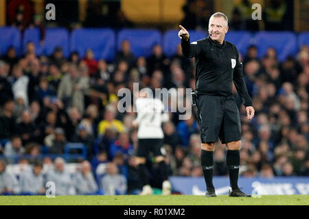 Referee, Jonathan Moss smiling during the EFL Carabao Cup Round of 16 match between Chelsea and Derby County at Stamford Bridge, London, England on 31 October 2018. Photo by Carlton Myrie.  Editorial use only, license required for commercial use. No use in betting, games or a single club/league/player publications. - Stock Photo