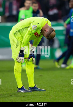Cologne, Germany October 31 2018, DFB Pokal, FC Koeln - FC Schalke 04: Timo Horn (Koeln) niedergeschlagen.                 Credit: Juergen Schwarz/Alamy Live News    DFB REGULATIONS PROHIBIT ANY USE OF PHOTOGRAPHS AS IMAGE SEQUENCES AND/OR QUASI-VIDEO Credit: Juergen Schwarz/Alamy Live News