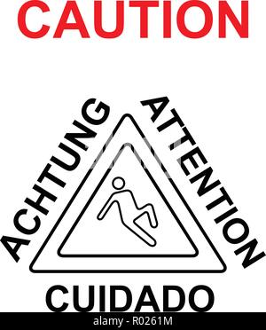Caution wet floor warning sign vector illustration - Stock Photo