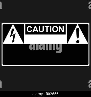 Caution and thunderbolt danger high voltage signs - Stock Photo