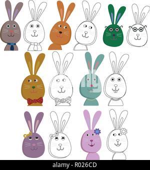 A many cute colorful rabbits conceptual vector - Stock Photo