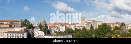 Santiago de Compostela wide panoramic view in Galicia, Spain High resolution - Stock Photo