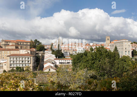Santiago de Compostela panoramic view in Galicia, Spain - Stock Photo