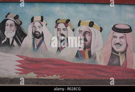 Rulers of Bahrain: Isa bin Ali Al Khalifa, Hamad bin Isa Al Khalifa, Salman bin Hamad Al Khalifa, Isa bin Salman Al Khalifa, Hamad bin Isa Al Khalifa - Stock Photo