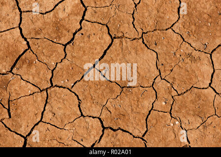 The cracked, dried earth is yellow. A desert without water. Arid ground. Thirst for moisture on a lifeless space. Ecological situation in the world.Saving water and natural resources.Undeveloped soil - Stock Photo
