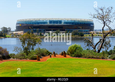 View from Claisebrook across the Swan River to Optus Stadium, Perth, Western Australia - Stock Photo