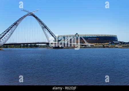 View across the Swan River to Windan Bridge and Optus Stadium, Perth, Western Australia - Stock Photo