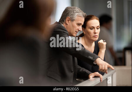 Male and female architects discussing an architectural feature. - Stock Photo