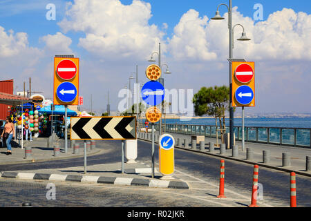 Many roadsigns showing left turn only, with no entry signs. Larnaca, Cyprus October 2018 - Stock Photo