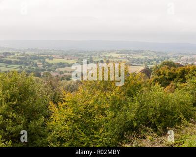 shaftesbury dorset beautiful green landscape view outside vista horizon overcast nature; Dorset; England; UK - Stock Photo