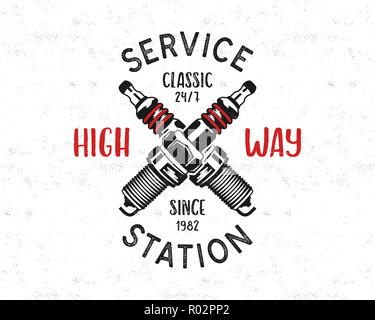 Service station emblem design. Classic garage logo in retro style with monochrome spark plug and typography High way. Mechanic badge. Good for tee. Stock isolated on white - Stock Photo