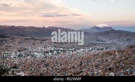 View over la Paz with the Illimani in the background - Stock Photo